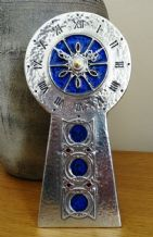 Archibald Knox AK34 Pewter and Enamel Clock